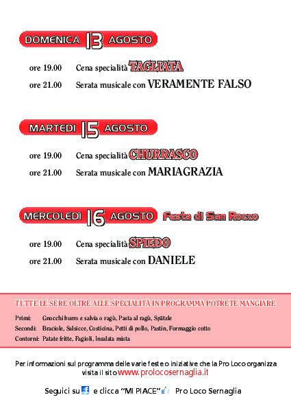 Programma San Rocco 2017